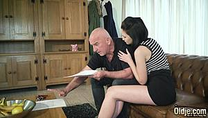 Teen elegant playful milk sacks and shaven muff pissed by grandad